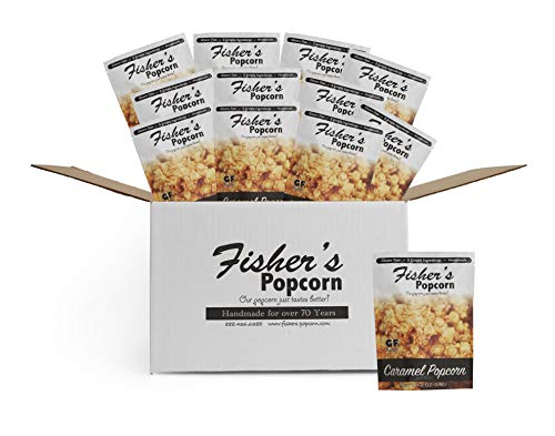Fisher's Popcorn Caramel Popcorn, Gluten Free, 5 Simple Ingredients, Handmade, No Preservatives, No High Fructose Corn Syrup, Zero Trans Fat, 2oz Bags (Pack of 12)