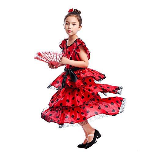 HongH Kids Spanish Flamenco Dress Princess Girls Polka Dot Belly Bullfight Senorita Child's Dance Costumes Outfit Folding Fan Headwear M