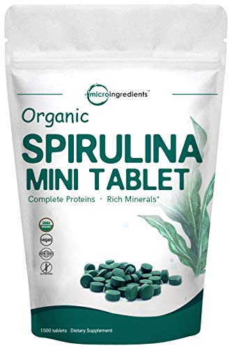 Organic Spirulina 3000mg Per Serving,1500 Tablet, Best Superfoods for Rich Minerals, Vitamins, Chlorophyll, Amino Acids, Fatty Acids, Fiber & Proteins, Non-GMO & Vegan Friendly For Sale