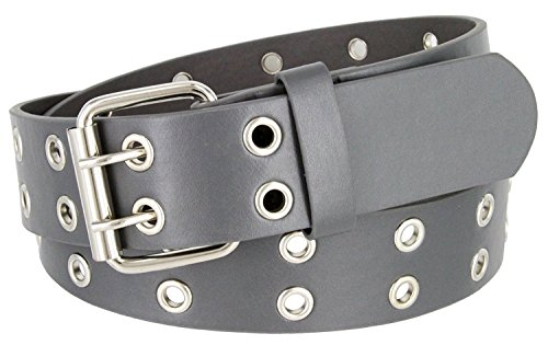 Solid Rich Fashion Color Double Grommet Genuine Leather Casual Jean Belt 38mm (L(37