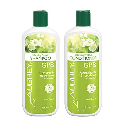 Aubrey GPB Balancing Protein Shampoo & Conditioner Bundle | Nourish & Strengthen Damaged Hair | Vanilla Balsam, 11oz ea. (Gpb Glycogen Protein Balancing Shampoo)
