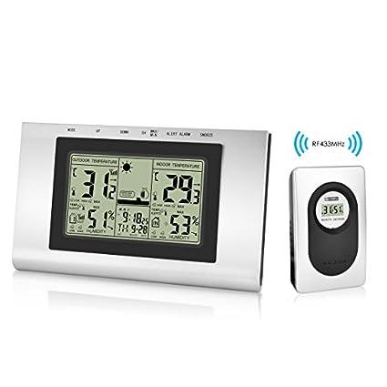 Elinker Thermo-hygromètre numérique Sans Fil,Thermomètre Waterproof pour lIntérieur et lExtérieur,Affichage de Température et taux ...