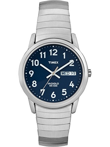 Timex Men's Easy Reader Watch, Silver-Tone Stainless Steel Expansion Band Dad Gift Fathers day