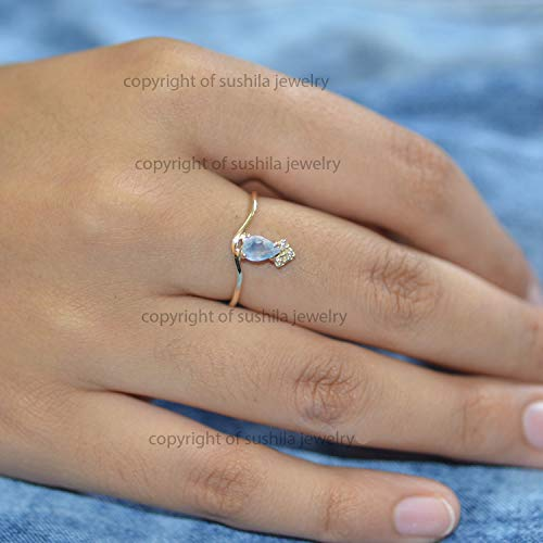 Solid 14k gold Genuine Blue Topaz and SI Clarity G Color Diamond Engagement Band Ring Handmade Christmas minimalist Jewelry Gift