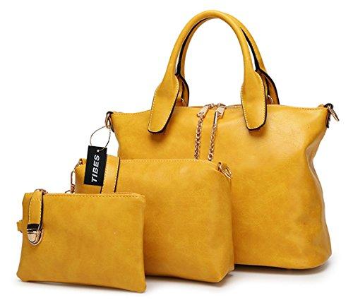 Tibes Bolso de las señoras de la manera Bolsa de hombro Conjunto del monedero 3pcs del dinero Amarillo