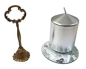 Metálico plata H10x W7cm sin aroma Pilar Vela & vertical apagar y placa de vidrio, diseño de mariposas Set