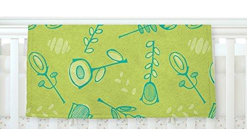 KESS InHouse Holly Helgeson Hattie Too Green Floral Fleece Baby Blanket 40 x 30 [並行輸入品]   B0785WPMFZ