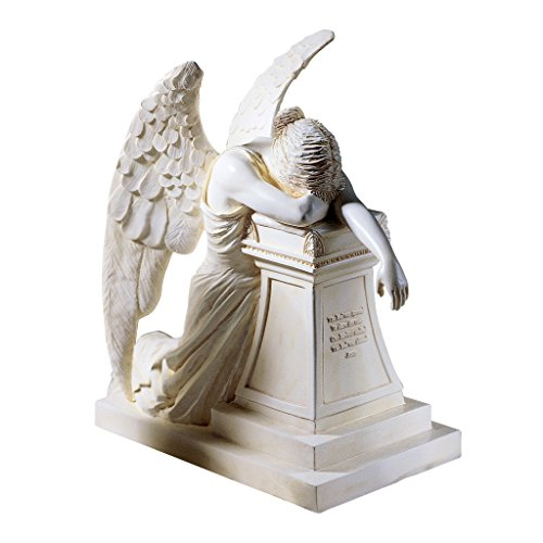 Design Toscano Angel of Grief Monument Religious Figurine Statue, Desktop, 7 Inch, Polyresin, Antique Stone