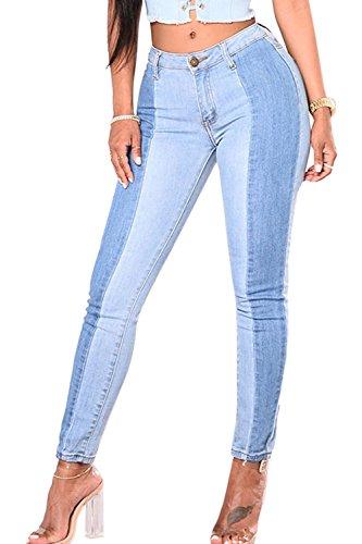 Simgahuva Womens Colorblock Jeans Cintura Alta Elastico Directo Lápiz Pantalones Azul