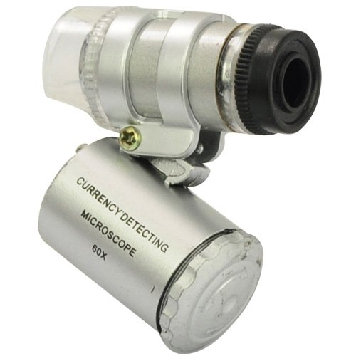 Gadget Hero's Pocket 60X Magnifying Loupe with LED & UV Light for Currency Checking Magnifier