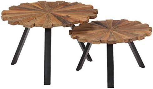 Mode-Stijl Tidyard 2-delige Salontafelset gerecycled hout tafelblad staal frame verschillende maten salontafel banktafel rustieke einde bijzettafel woonkamer, slaapkamer, huis meubels  oJHdEsJ