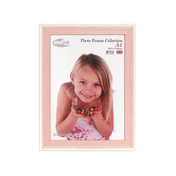 Inov8 British Made Picture/Photo Frame, A4 Certificate, Austen Pink Wash, Pack of 4
