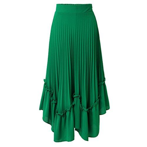 Femmes Jupes de Mode de Taille Haute Mousseline de Soie Plisse Taille Extensible Poches Maxi Jupe M-4XL Vert