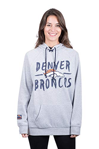(NFL Denver Broncos Women's Fleece Hoodie Pullover Sweatshirt Tie Neck, X-Large, Heather Gray)