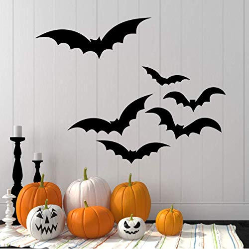 Flying Bat Silhouettes Halloween Decorations | Vinyl Decor for Home, Office | Black,]()