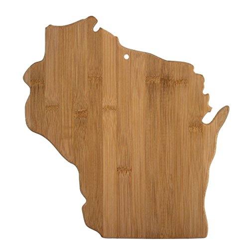 Totally Bamboo Wisconsin State Shaped Bamboo Serving and Cutting Board
