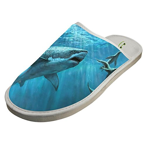Indoor Shoes Warm Shark Sleeppers Adult Flat Slippers Sandals Sea Deap White1 Blue Family qSn1v8tCw
