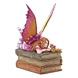Ebros Amy Brown Autumn Pink Book Club Fan Fairy With Wyrmling Dragon On A Stack Of Books Statue 7 High Fantasy Mythical Reading Faery Fae Magic Watercolor Collectible Decor Figurine