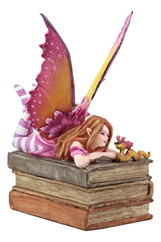- Ebros Amy Brown Autumn Pink Book Club Fan Fairy with Wyrmling Dragon On A Stack of Books Statue 7