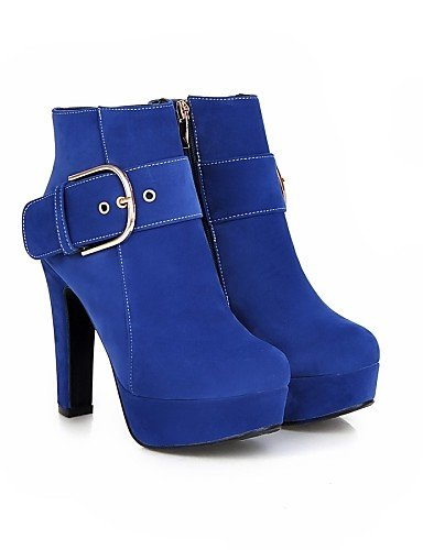 Cn34 Moda Redonda Blue Casual us3 Black Robusto us5 Vestido Mujer Uk3 La Vellón 5 A Zapatos Uk1 Xzz Negro Punta Tacón Eu35 Cn32 Rosa Eu33 5 Azul De Beige Botas WvSBqY