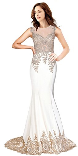 Rongstore Women`s Sleeveless Mermaid Evening Dresses Beaded Lace US2 Ivory