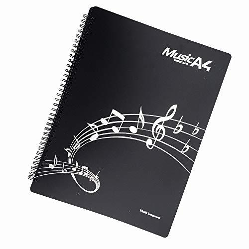 Music Sheet File Paper Documents Storage Folder Holder,Band Folder, Folder for Musicians, Writable,US LETTER / A4 Size, 20 Sleeves, 40 Pages - Gtlzlz (Black) (Sheet Music Folder)