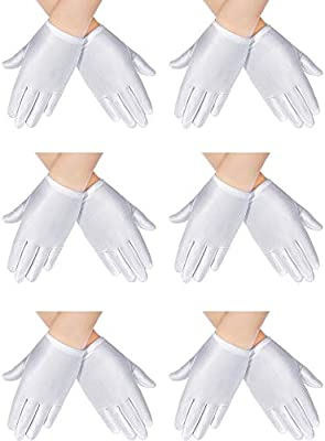 6 Pairs White Child Gloves White Dress Gloves Formal Gloves for Kids Costume Pageant Art Stage Show Party Supplies