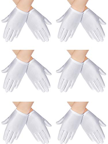 6 Pairs White Child Gloves Formal Gloves White Dress Gloves for Kids Costume Pageant Stage Art Show Party Favors