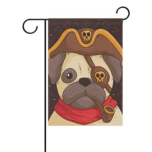 (Cute Pug with Pirate Costume Garden Flag Decor Outdoor 28 x 40 Inch Welcome House)