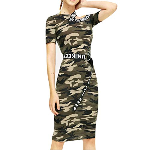 DaoAG-Summer Clothes Women Camouflage Dress with Belt Cold Shoulder Short Sleeve Slim Mini Dress Casual Bodycon Sundress ()