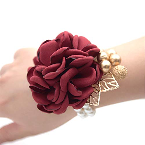 Wedding Bridal Wrist Corsage Prom Wrist Flower Corsage Flowers for Wedding Party,Graduation Party (Wine Red) ()