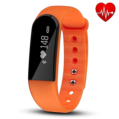 Fitness Tracker with Heart Rate Monitor, Hembeer V3 Smart Bracelet Pedometer Activity Fitness Tracker Sleep monitor Bluetooth 4.0 Wristband with app for iOS & Android Smartphone, Orange (Moto X Unlocked Phone 2014)