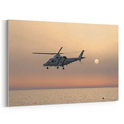Westlake Art - Helicopter Sunset - 16x24 Canvas Print Wall Art - Canvas Stretched Gallery Wrap Modern Picture Photography Artwork - Ready to Hang 16x24 Inch