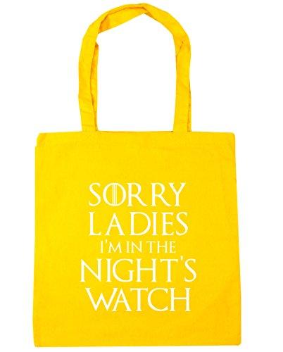 HippoWarehouse Sorry ladies I 'm en la noche reloj de bolsa de la compra bolsa de playa 42cm x38cm, 10litros amarillo