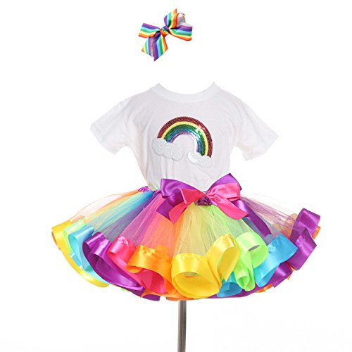 TRADERPLUS Rainbow T-Shirt and Ballet Tutu Skirt with Hair Bows Set for Baby Girls (Medium 4-6 Years) -