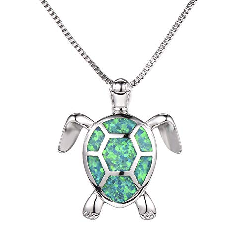 - Health and Longevity Sea Turtle Birthstone Jewelry Sterling Silver Created Blue Opal Sea Turtle Earring Rings Pendant Necklace Length 18-20 inch (Pendants -C)