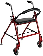 Drive Medical Two Wheeled Walker with Seat, Red, 1 Each 1 count