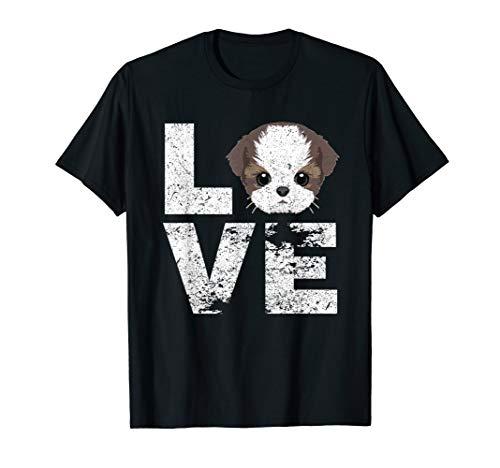 (I Love My Shih Tzu Dog Head Funny TShirt Dog Lovers Gift)