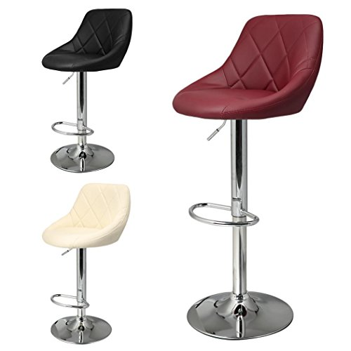 Etuoji Set of 2 New Modern PU Leather Adjustable Counter Height Bar Stools, Oval 360° Free Swivel Brief European Style Stool Dining Chair with Backrest, 3 Colors(US STOCK) by Etuoji