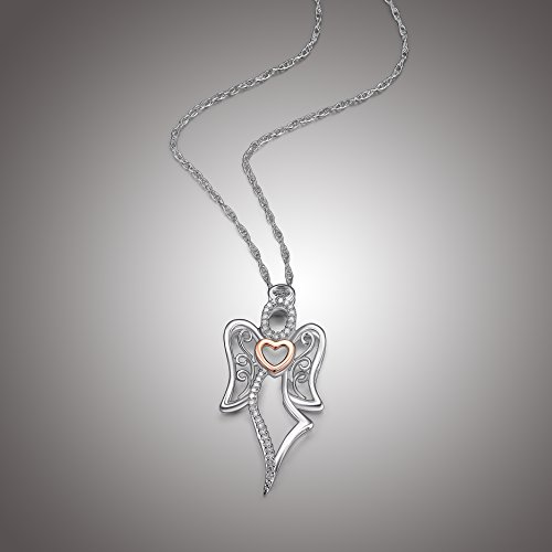 Two-Tone Sterling Silver and Rose Gold Over Sterling Silver Angel with Heart Pendant Necklace, ()