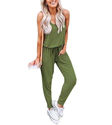 db6770bb Artfish Women Summer Sleeveless Jumpsuit Solid Casual Pants Romper with  Pockets(Army Green-M)