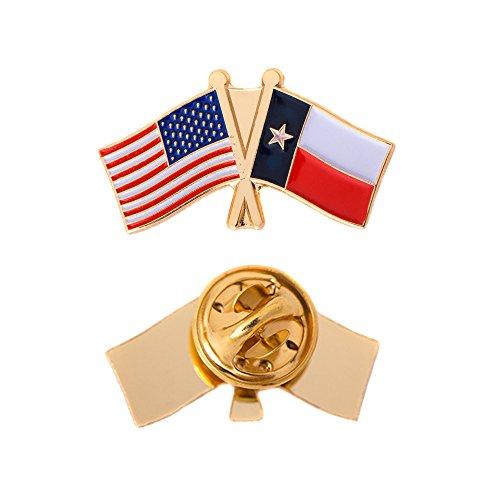 (Texas TX State Double Flag Lapel Pin Enamel with United States USA US Souvenir Hat Men Women Patriotic Texan (Double Flag Pin))