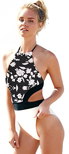 Christmas PEGGYNCO Womens Backless Floral Print One-piece Swimwear Size M
