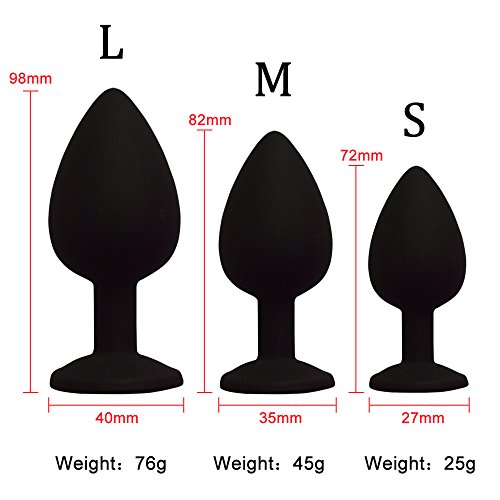 3 Pcs 3 Size Silicone Jeweled An-al Bu-tt Pl-ug Beginner Kit,Flirt Toys Luxury Jewel An-al Trainers for Men Women Couples Lover (Black)