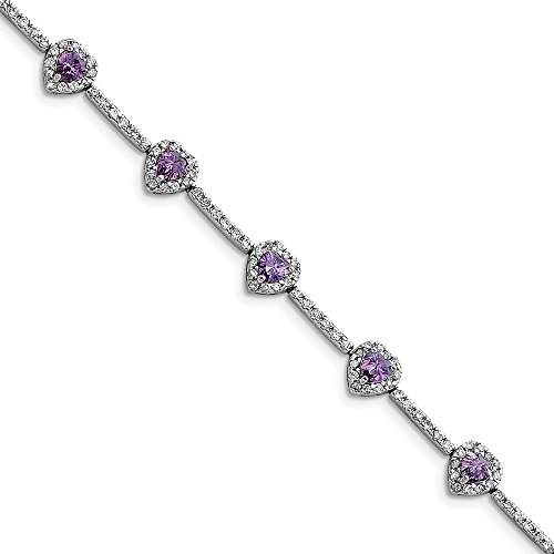 925 Sterling Silver Rhodium Plated Amethyst and Clear Cubic Zirconia Heart Bracelet