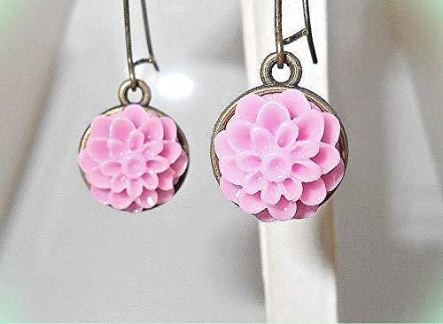 - Petite Pink Camellia Dahlia Flower CAMEO Bronze-tone Dangle Earrings 1-1/2