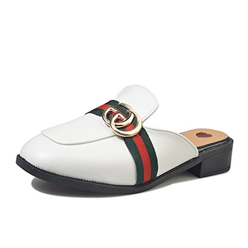 Casa BAOZIV587 38 fibbia rotonda punta all'aperto Pantofola leggera mezza mezza pantofola a pantofole femmina con temperamento nero moda in bianca donna incinta pelle testa dqfqr4pw