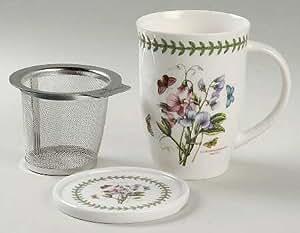 Portmeirion Botanic Garden Tisanieres Set-Mug, Metal Filter, & Coaster, Fine China Dinnerware