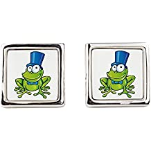 Cufflinks (Square) Frog with Top Hat