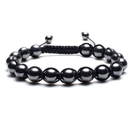 JOVIVI Men,Women Natural Tiger Eye Stone & Hematite Healing Balance Round Braided Rope Energy Beads Bracelet - Medicine Mans Eye